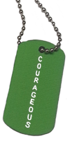 BRAG TAG NECKLACE Lime Green Courageous